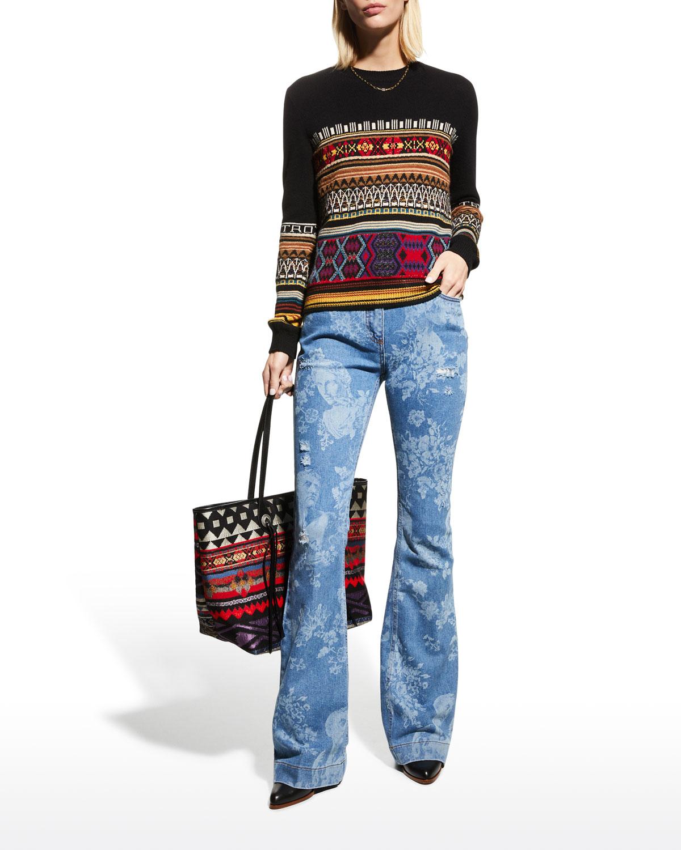 Geometric Striped Crewneck Sweater
