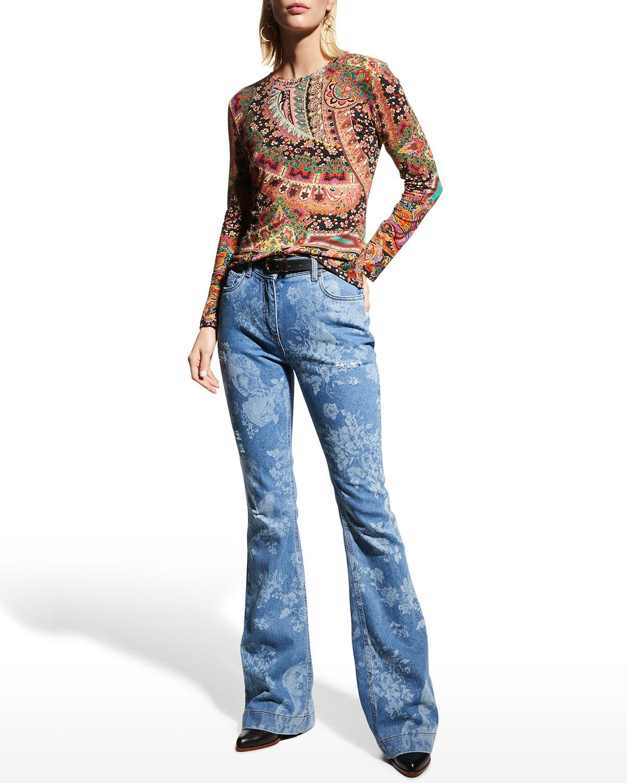 Clover-Print Jersey Long-Sleeve Top