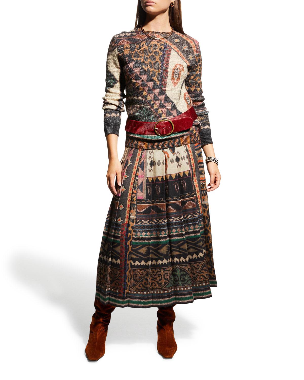 Geometric-Print Pleated Wool Skirt