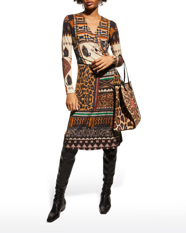 Geo Animal-Print Wrap Dress