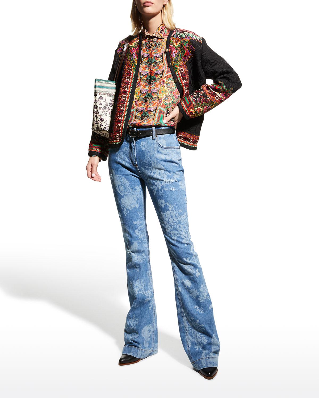 Floral Face-Burnout Printed Bootcut-Leg Jeans