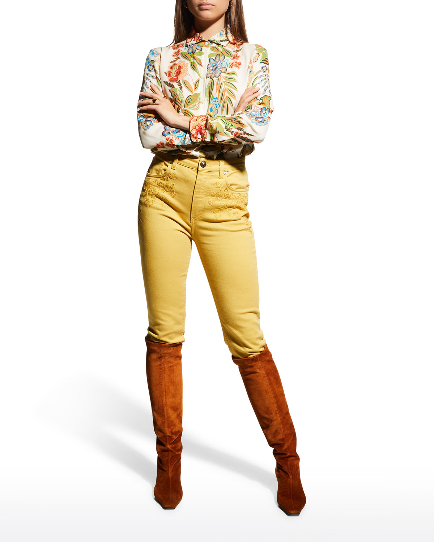 Rose Fern-Print Silk Tunic Shirt