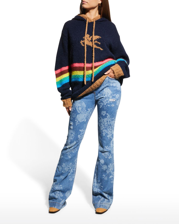 Striped Pegasus Logo Hoodie Sweater