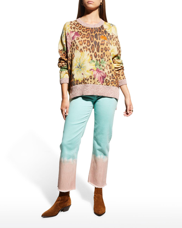 Floral Animal-Print Logo Sweater