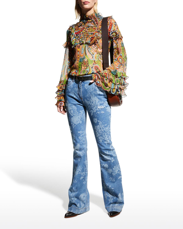 Paisley-Printed Ruffle Bib Georgette Blouse