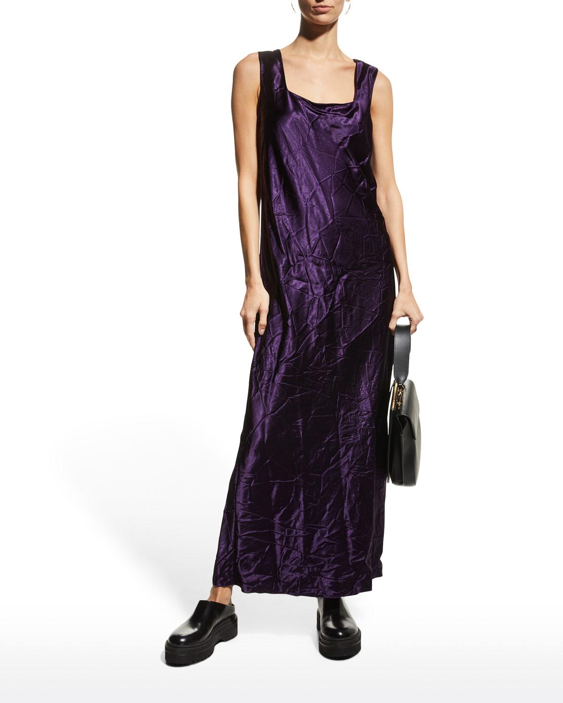 Crinkle-Satin Bias Maxi Dress