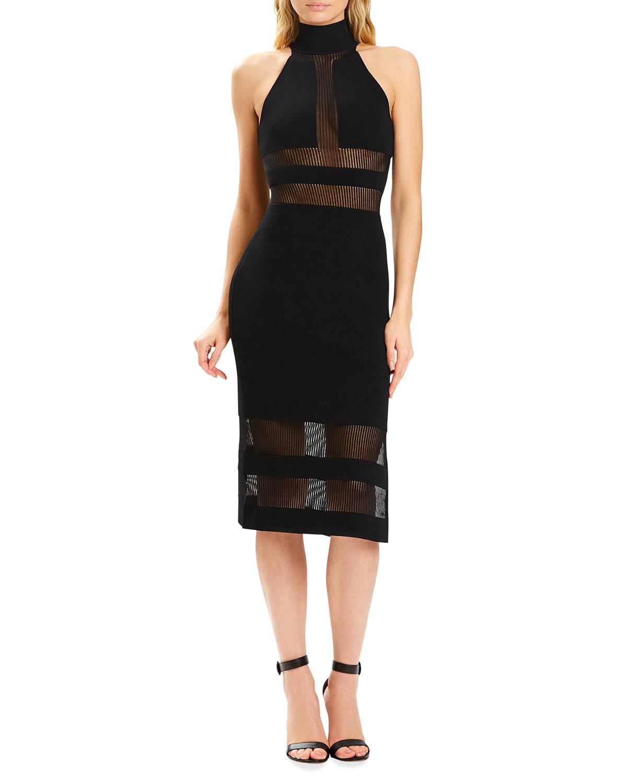 x Julia Restoin Roitfeld Sheer Striped Panel Illusion Body-Con Dress