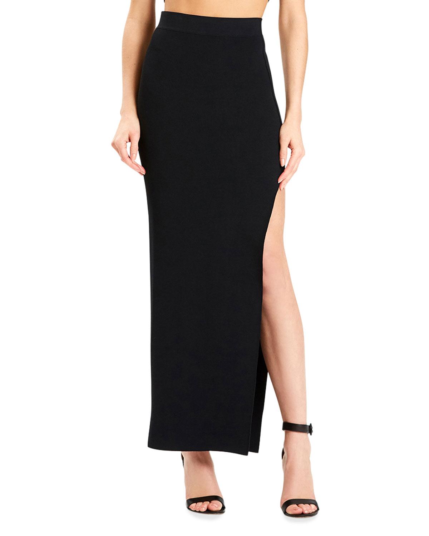 x Julia Restoin Roitfeld Long Side-Slit Pencil Skirt