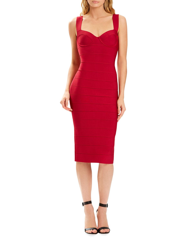 x Julia Restoin Roitfeld Bustier Bandage Midi Dress