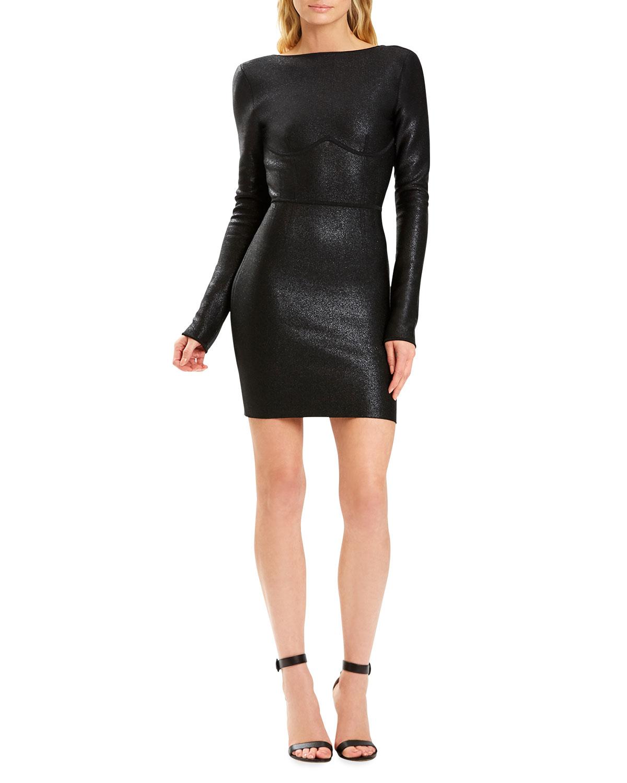 x Julia Restoin Roitfeld Disco-Knit Open-Back Mini Dress