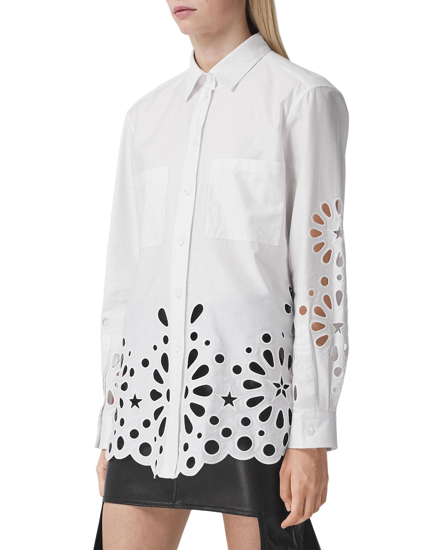 Coraline Oversized Star-Eyelet Poplin Shirt