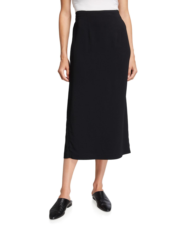 High-Waist Stretch Midi Pencil Skirt