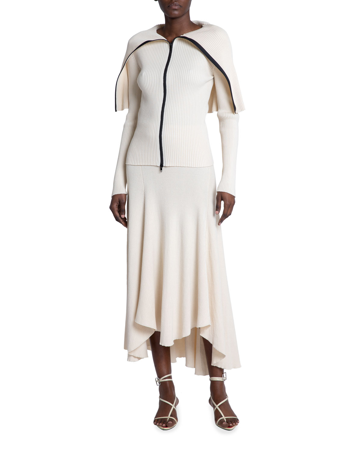 Ribbed Cape Sweater w/ Zip Detail