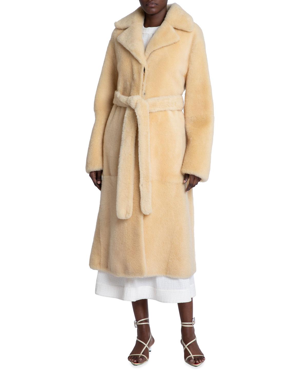 Long Belted Sheep Shearling Coat