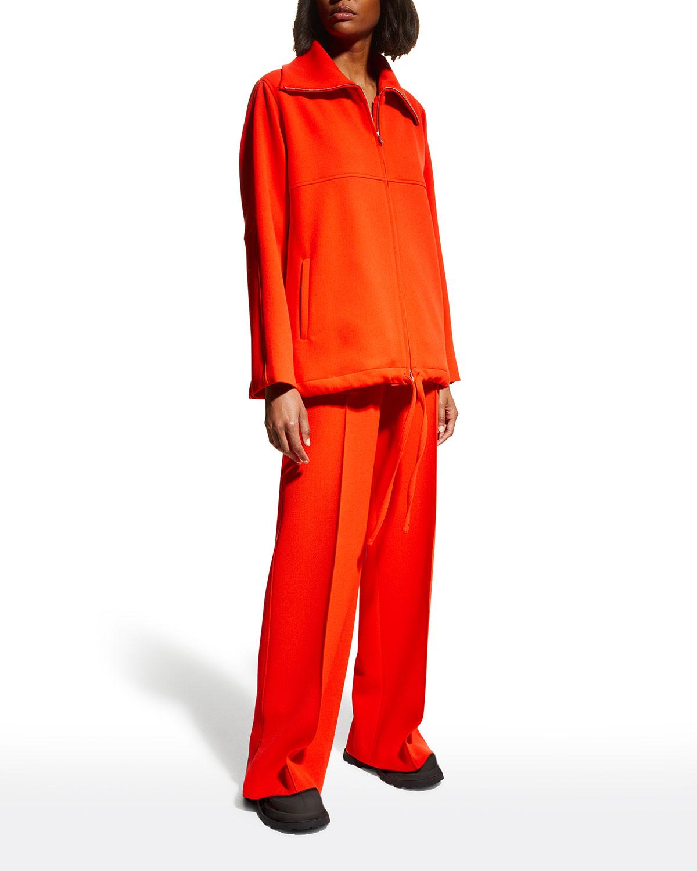 Wide-Collar Zip-Up Wool Jacket