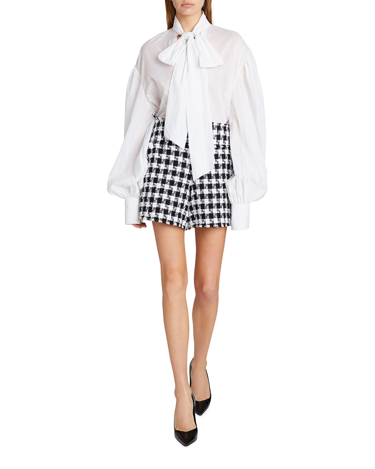 Gingham Tweed 6-Button Frayed Shorts