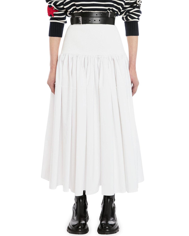 Mixed-Media Midi Skirt