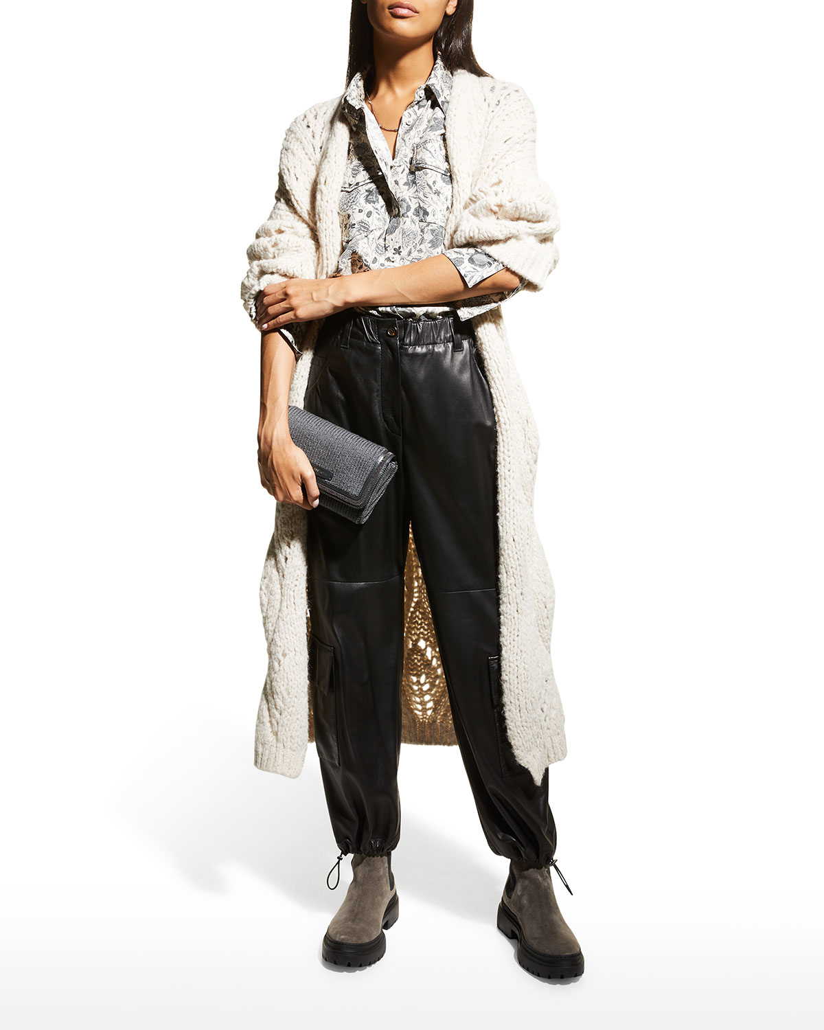 Open Weave Belted Maxi Cardigan