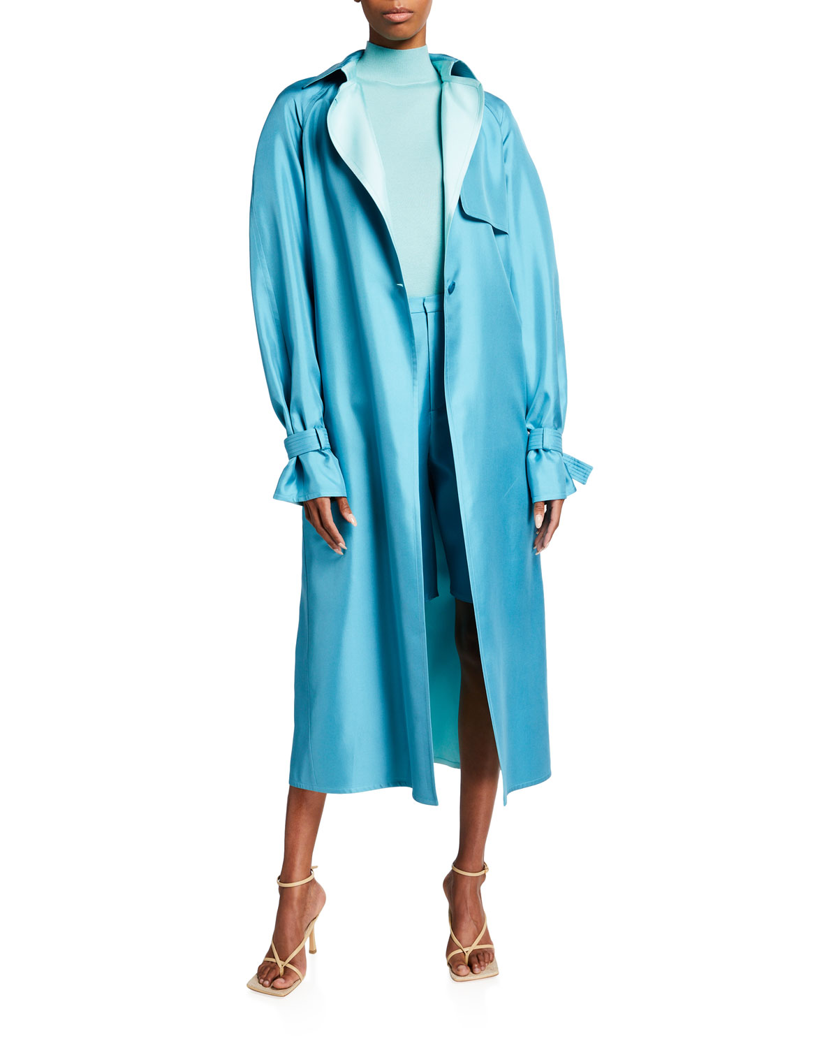Belted Silk Trench Coat