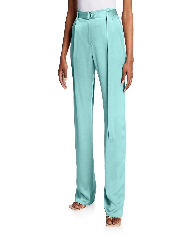 Belted Wide-Leg Satin Pants