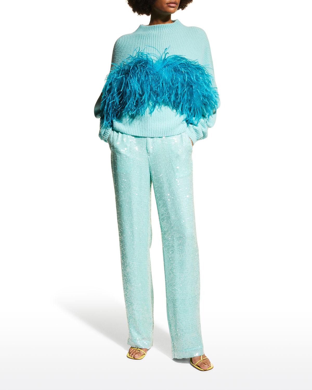 Sequin High-Waist Trousers