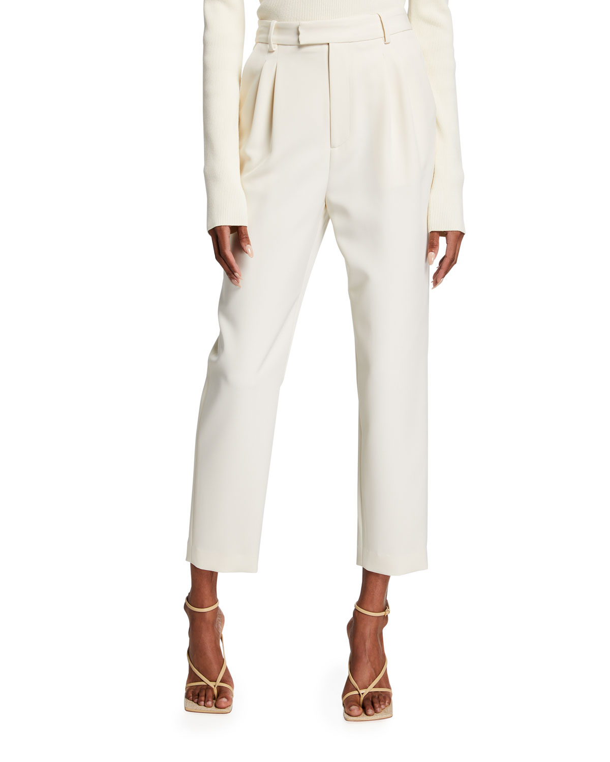 Pleated Crepe Cropped Trousers