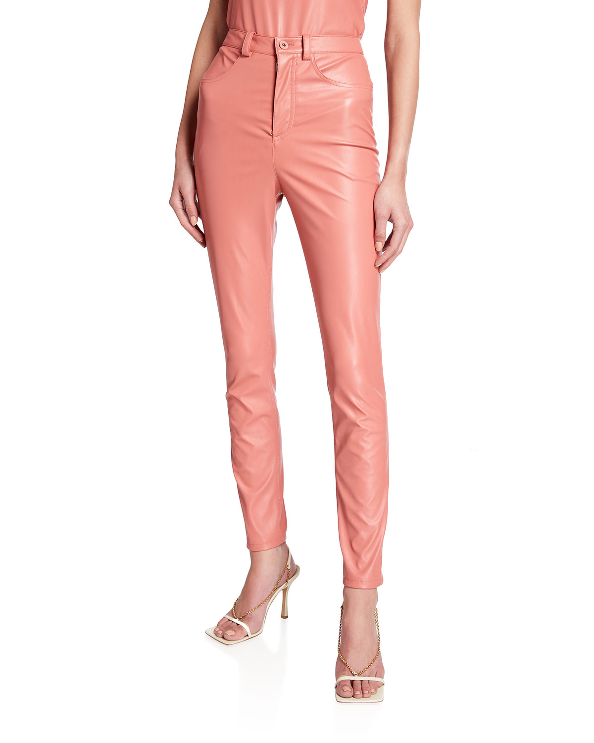 Faux-Leather Skinny Jeans