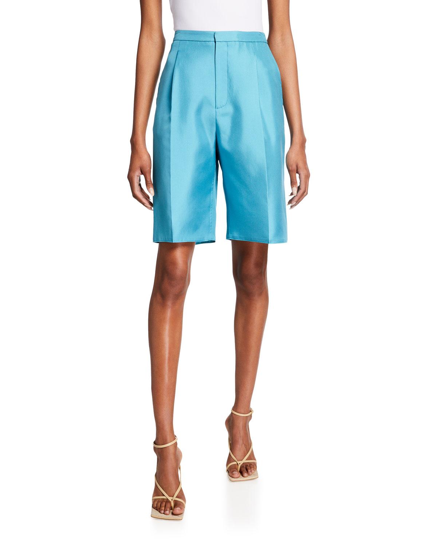 Silk-Twill Tailored Bermuda Shorts