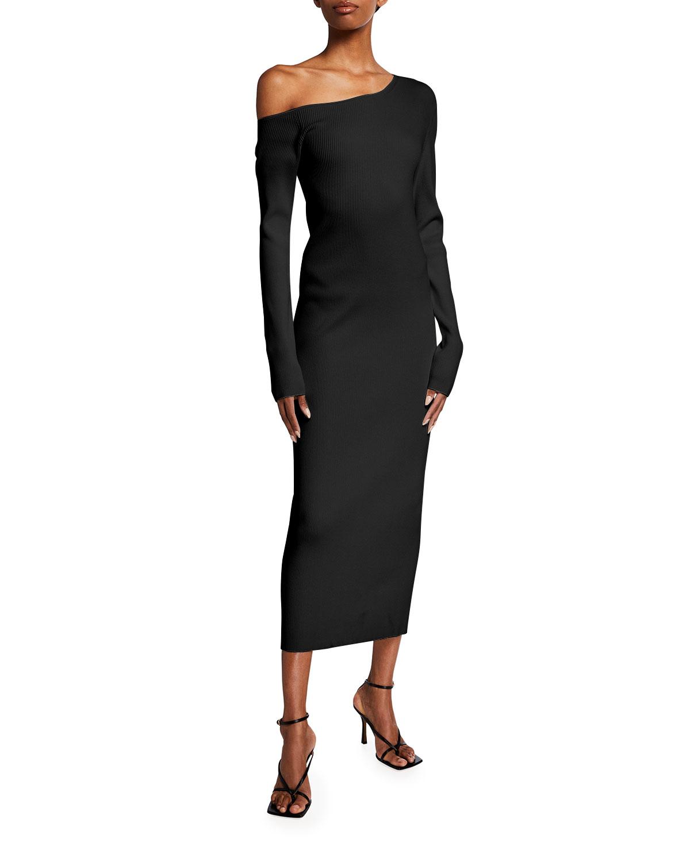 Ribbed One-Shoulder Slim Midi Dress