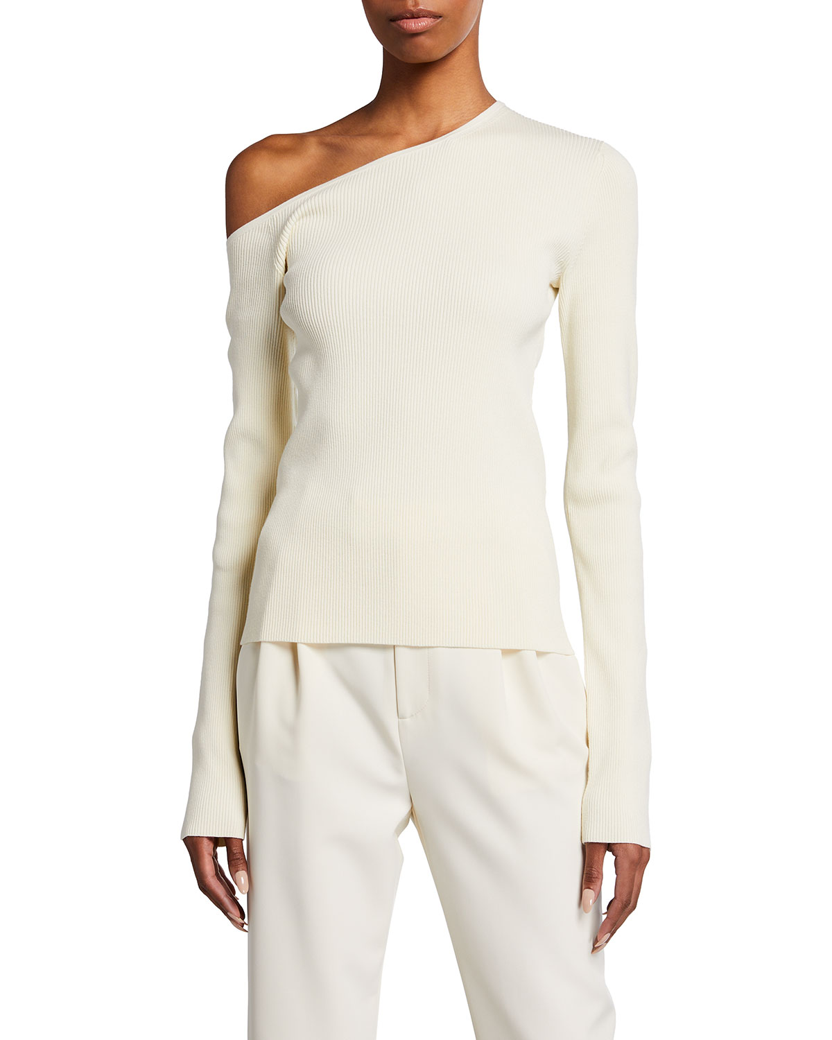 Ribbed One-Shoulder Long-Sleeve Top