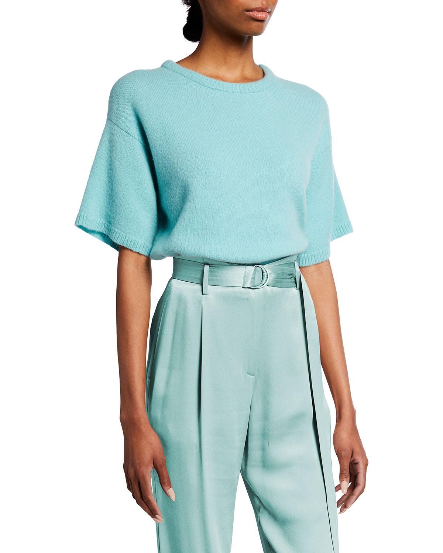 Airy Cashmere-Silk Boxy T-Shirt