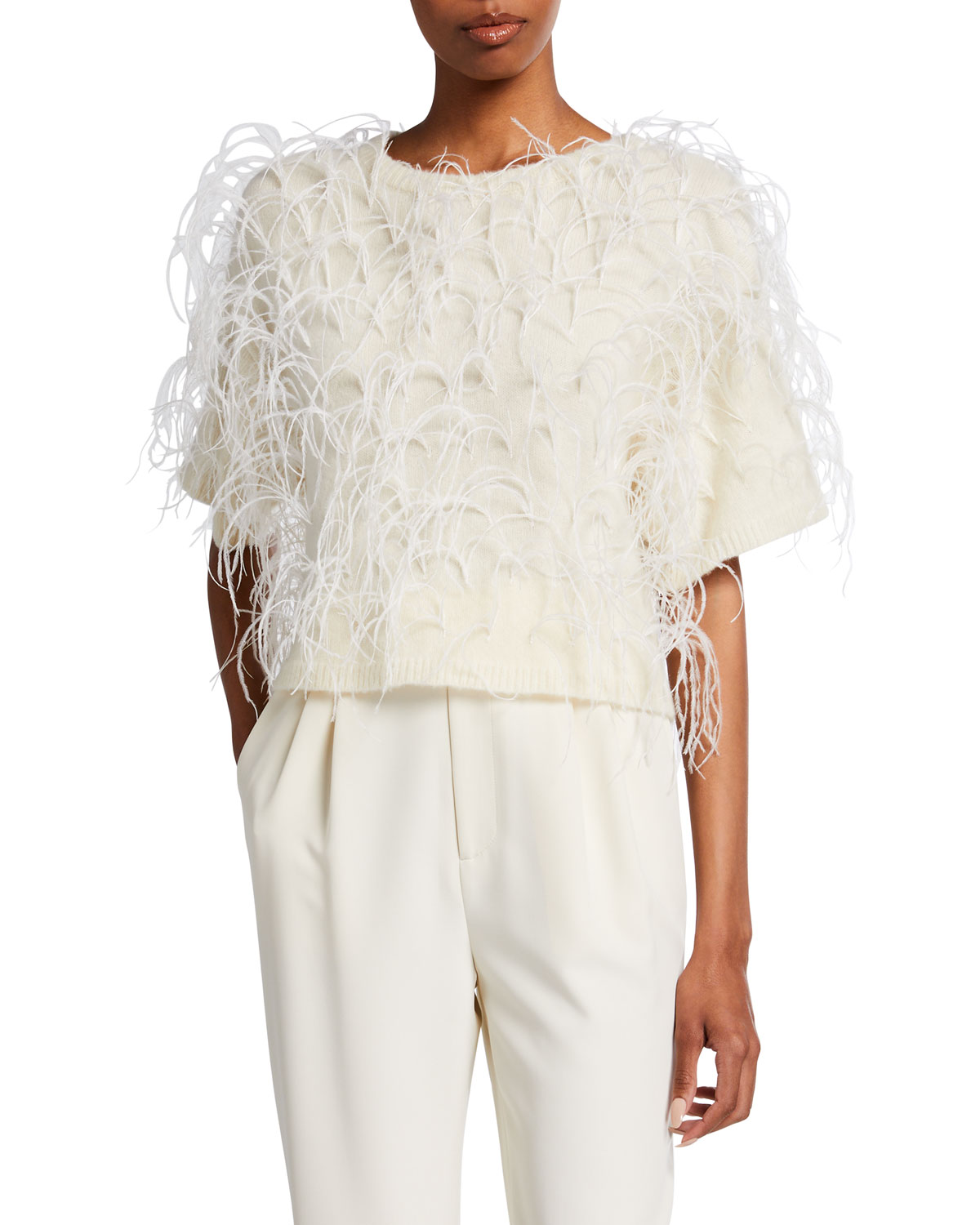 Feather-Embroidered Cashmere-Silk T-Shirt