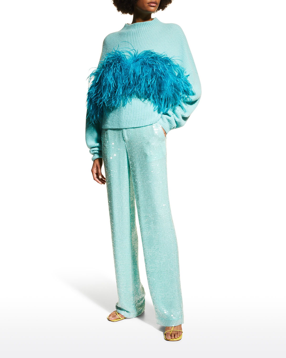 Funnel-Neck Cashmere-Silk Sweater w/ Feather Bustier
