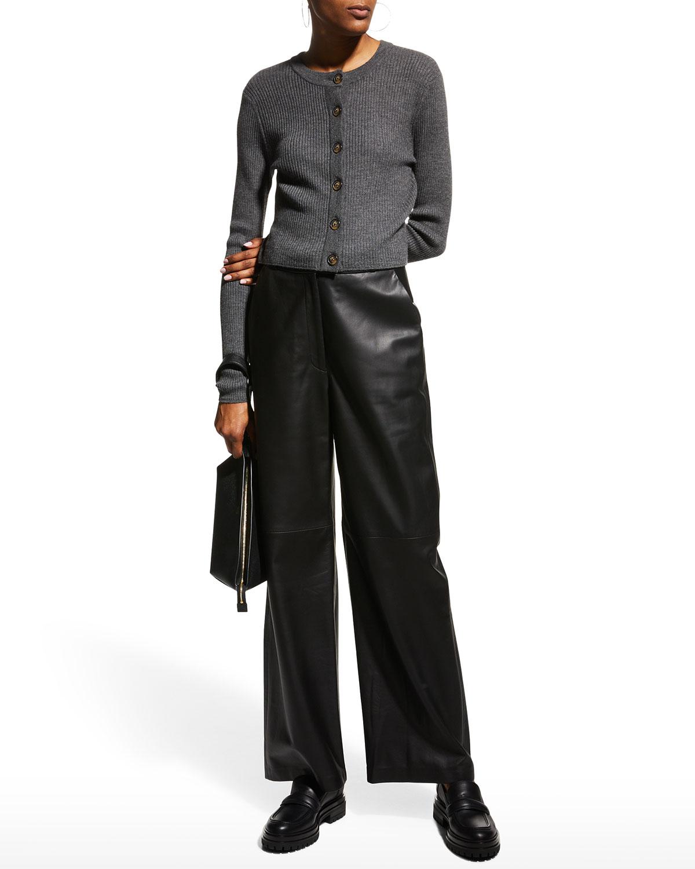 Noro Wide-Leg Leather Pants