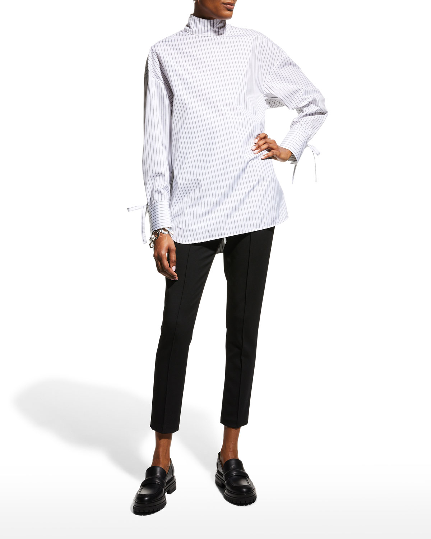 Enmedio Striped Mock-Neck Poplin Shirt