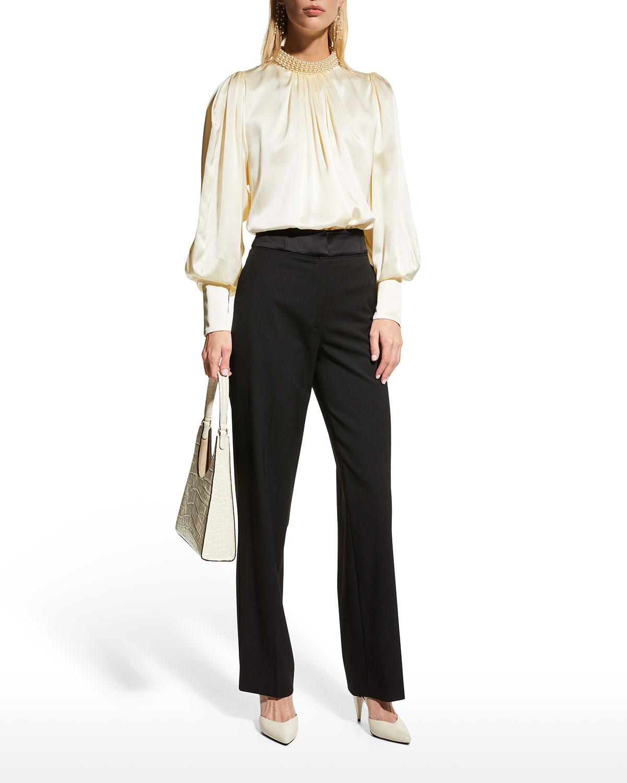 Pearlescent Beaded-Collar Silk Top