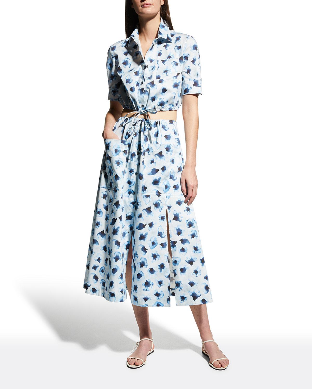 Tandy Floral-Print Drawstring Midi Skirt