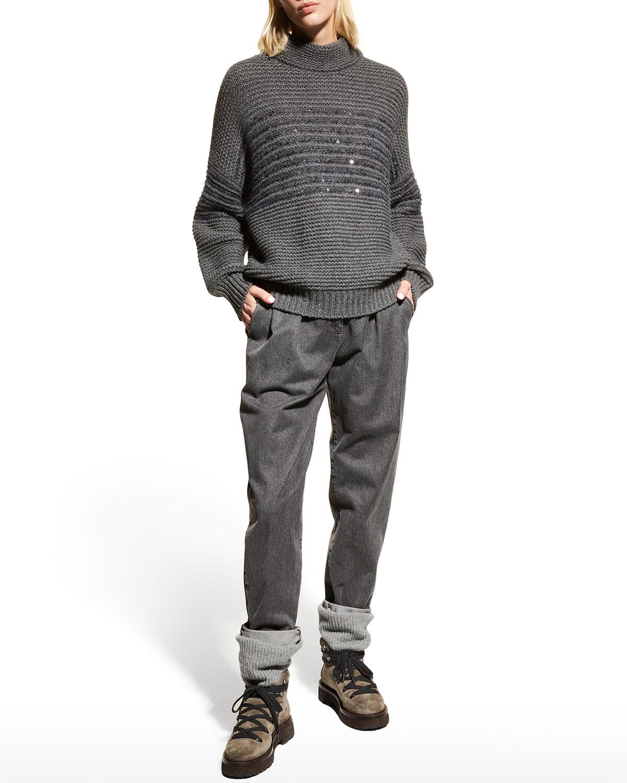 Roll-Cuff Pleated Denim Pants