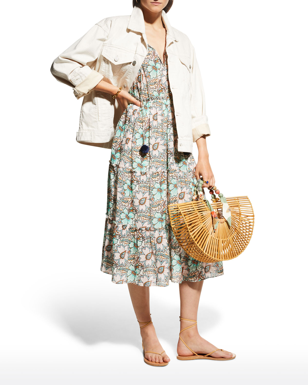 Clare Floral-Printed Self-Tie Neck Midi Dress
