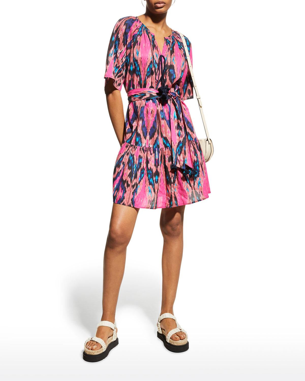 Bria Ikat-Print Tassel-Tie Mini Dress