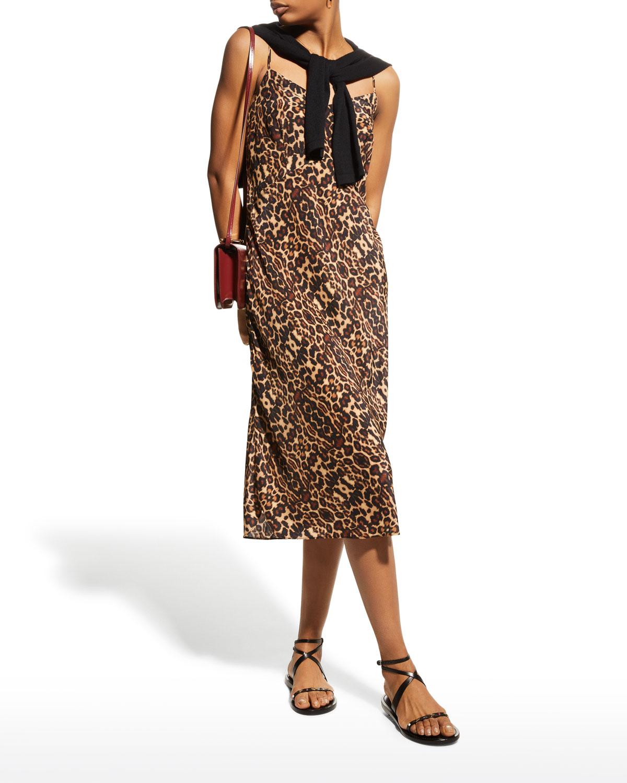 Carolyne Leopard-Print Midi Slip Dress