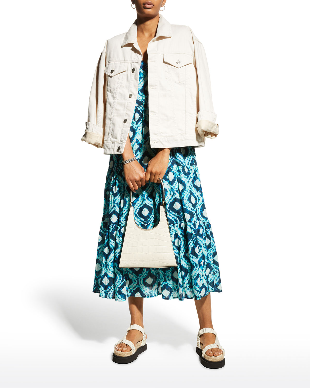 Abby Tiered Shibori-Print Midi Dress