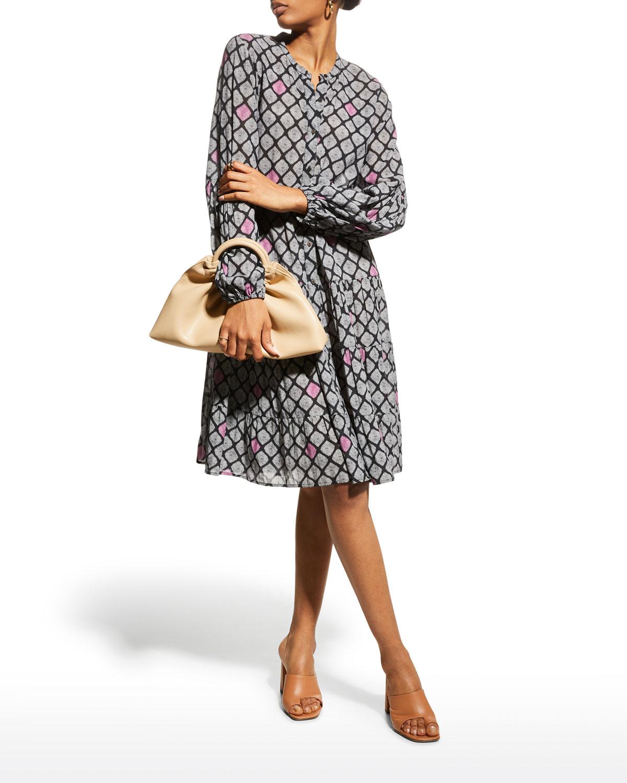 Xiomara Abstract-Printed Tiered Dress