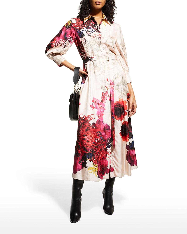 Ozabu Dream Floral Silk Belted Shirtdress