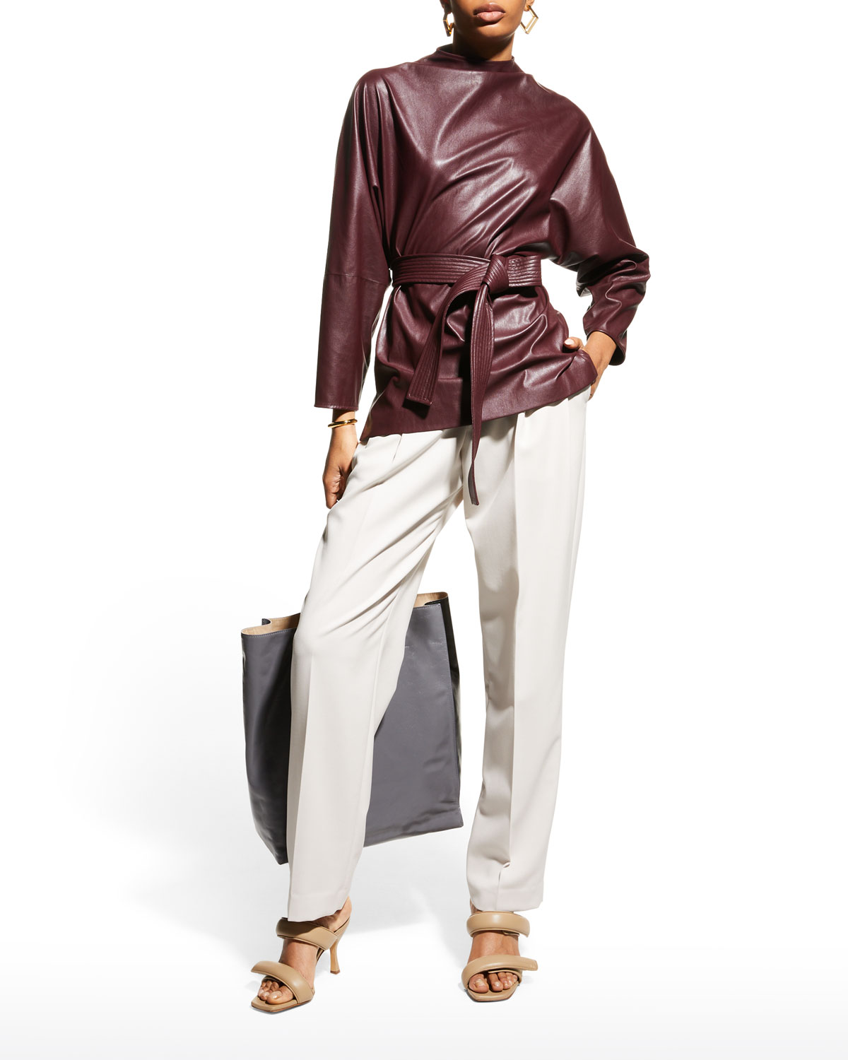 Belted Faux-Leather Belted Top