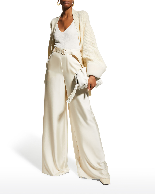 Belted Wide-Leg Silk Twill Pants
