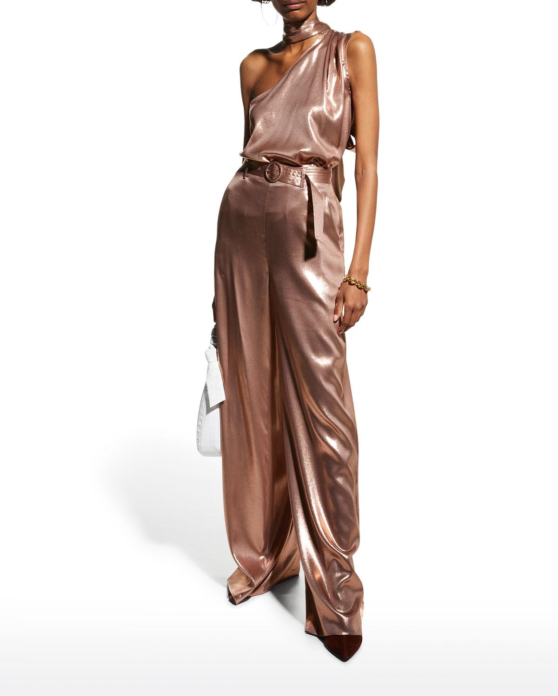 Belted Wide-Leg Metallic Silk Pants