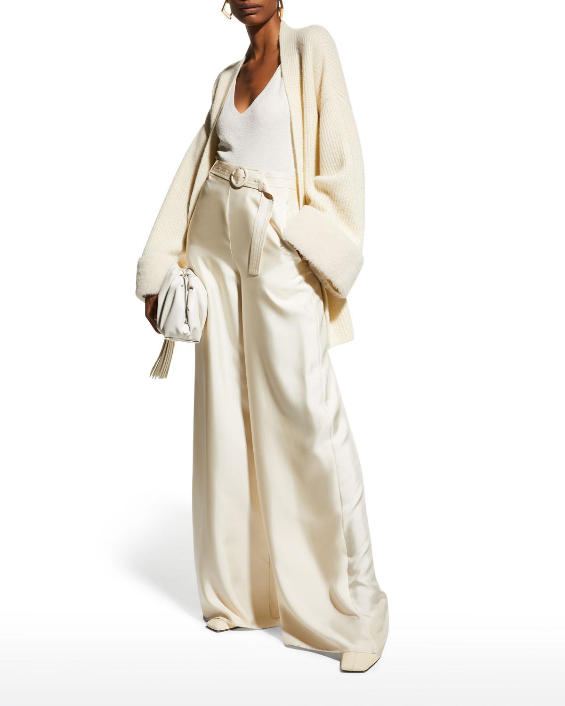Ribbed Cashmere Kimono Cardigan w/ Shearling Trim