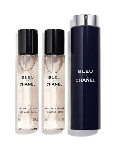 BLEU DE CHANEL Eau de Toilette Refillable Travel Spray 3 X 0.7 oz./ 20 mL