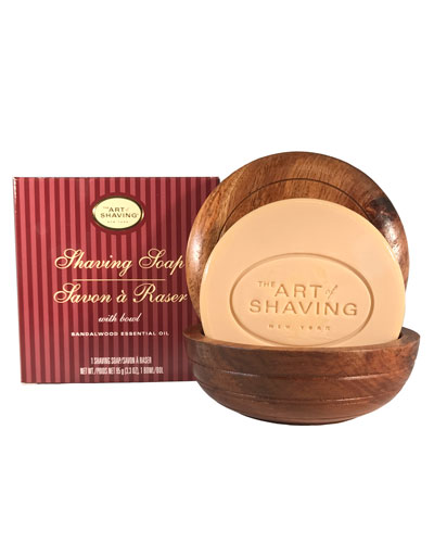 Shaving Soap with Wooden Bowl, Sandalwood